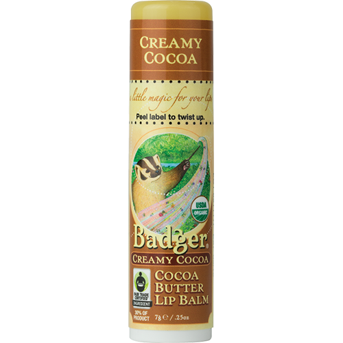 Badger Cocoa Butter Lip Balm .25oz 7g - Creamy Cocoa