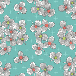 Lexi Spaced Floral- Aqua
