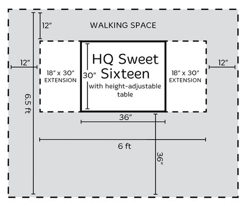 Handi Quilter Sweet Sixteen Room Space Diagram