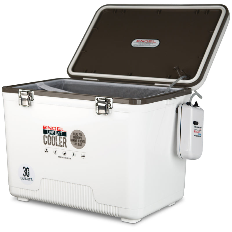 30qt Live Bait Drybox/Cooler with 2 speed aerator pump and net