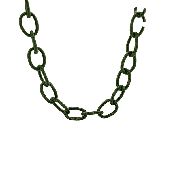 Olive Green Silk Mask Chain