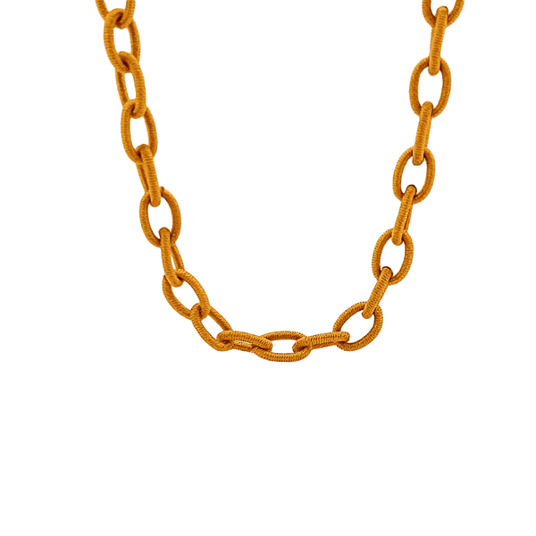 Mustard Yellow Silk Mask Chain