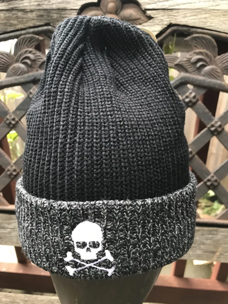 Midnight Cable Ribbed Skull Cap - Black/Grey