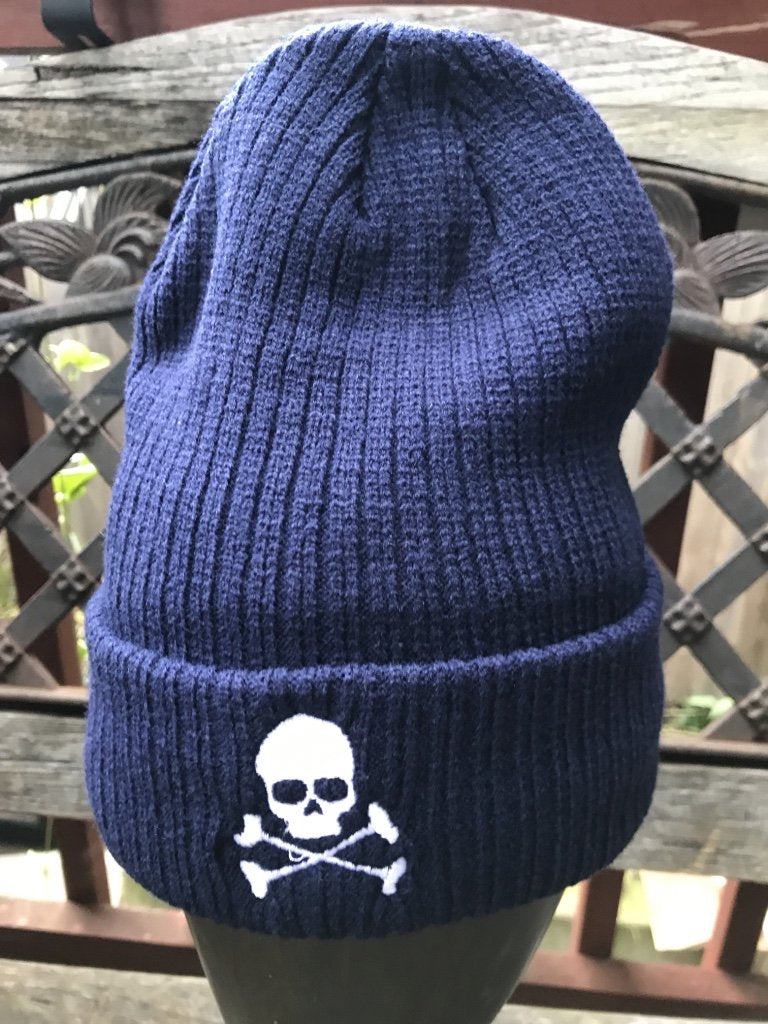 Midnight Ribbed Skull Cap - Blue