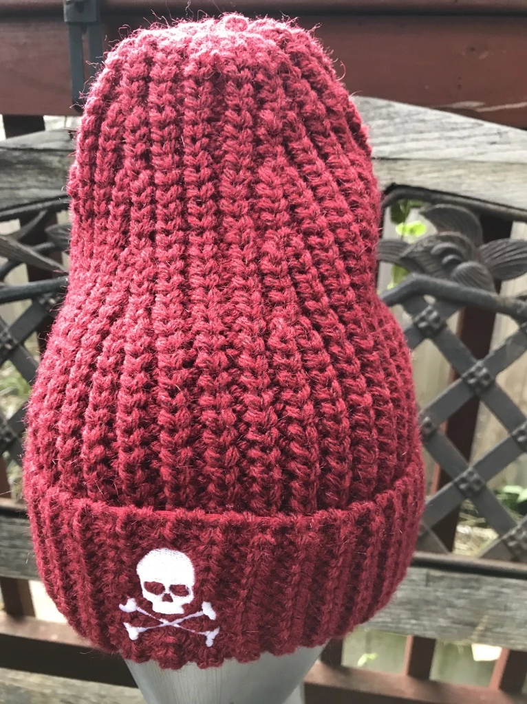 Midnight Cable Ribbed Skull Cap - Maroon