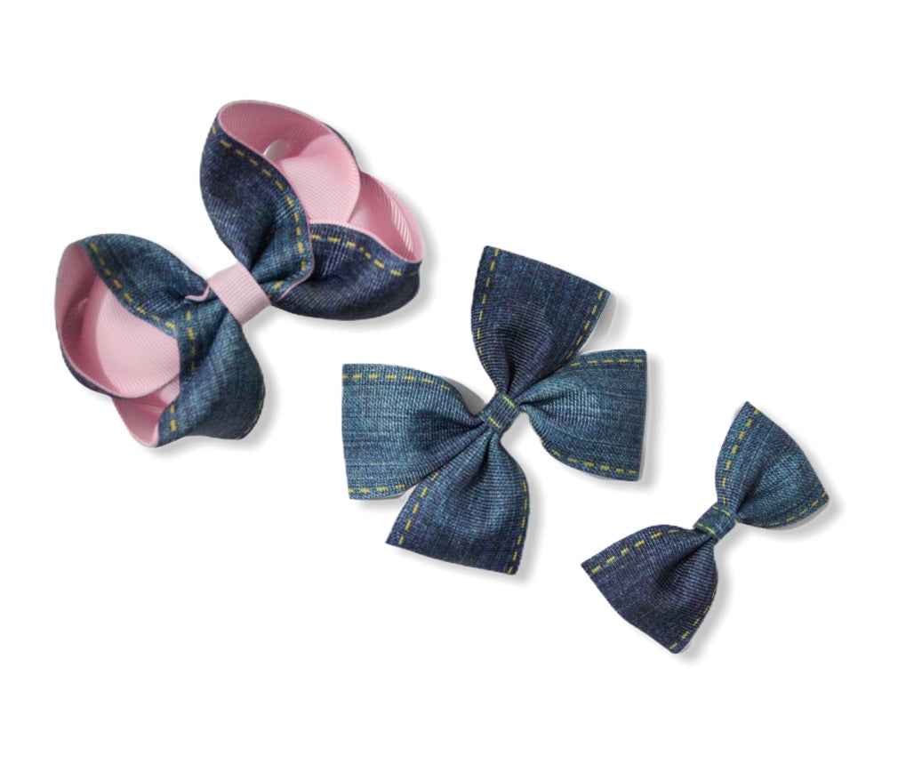 Denim Bows - All Sizes