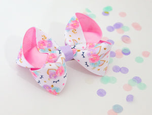 'Floral Unicorn' print large boutique bow