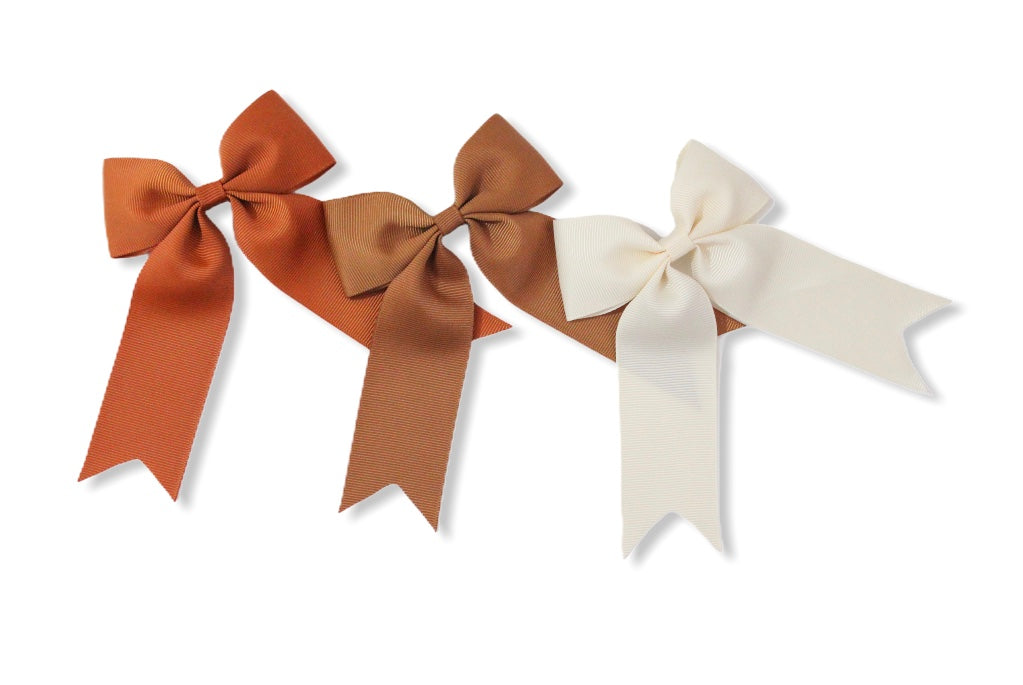 Set of 3 Copper, Golden Brown & Cream - All Style & Size Bows
