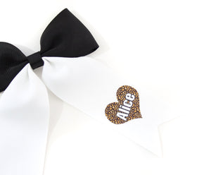Personalised Leopard Print Heart Bows - all sizes