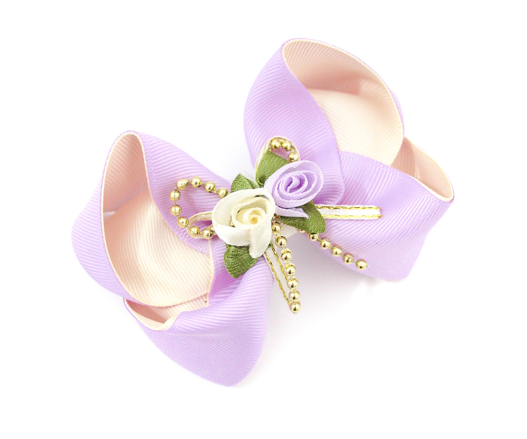 Lilac/Cream Rose Bouquet Large Boutique Bows