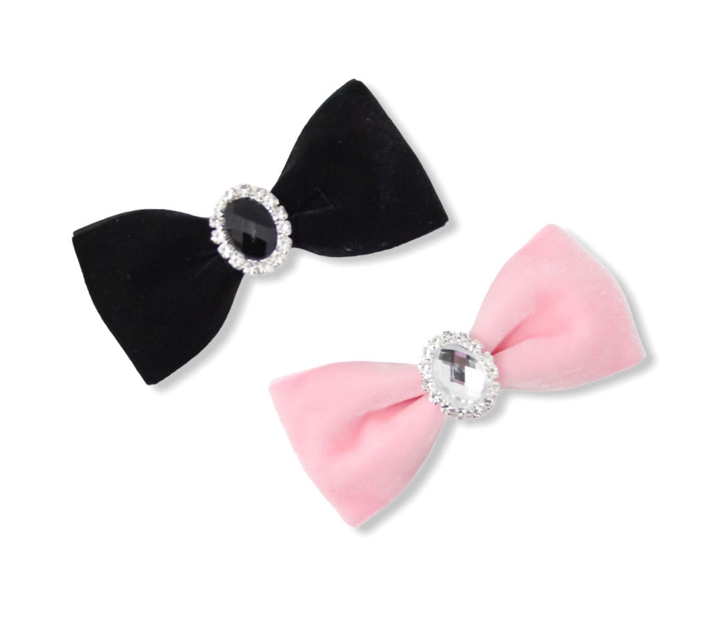 Velvet Gemstone Medium Pinch Bows
