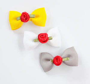 Red Rose Mini Bow - Clips and Headbands