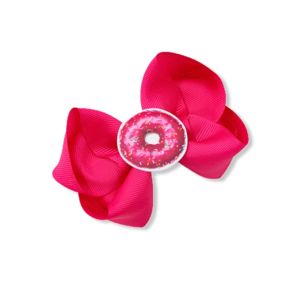 Hot Pink Doughnut Large Boutique Bow