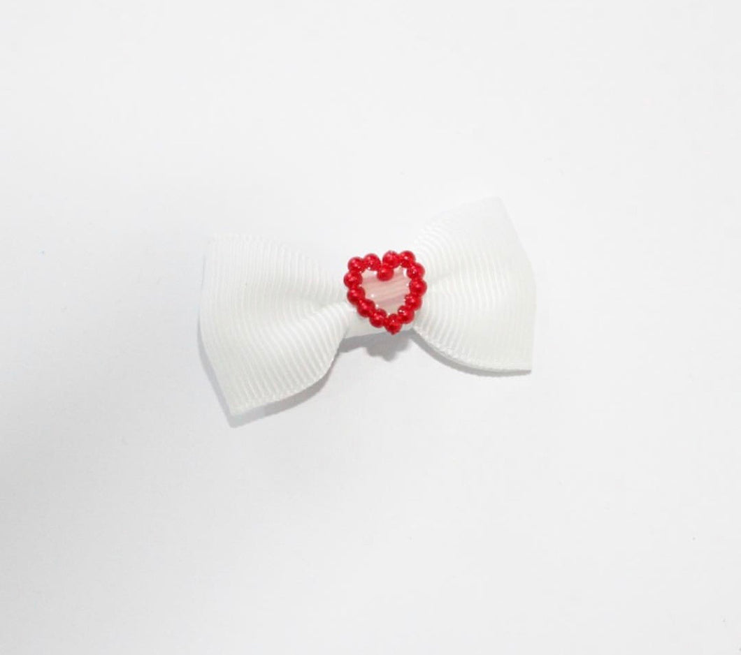 Red Pearl Heart Mini Bows - Clips and Headbands