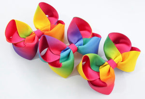 Bright rainbow large boutique bow
