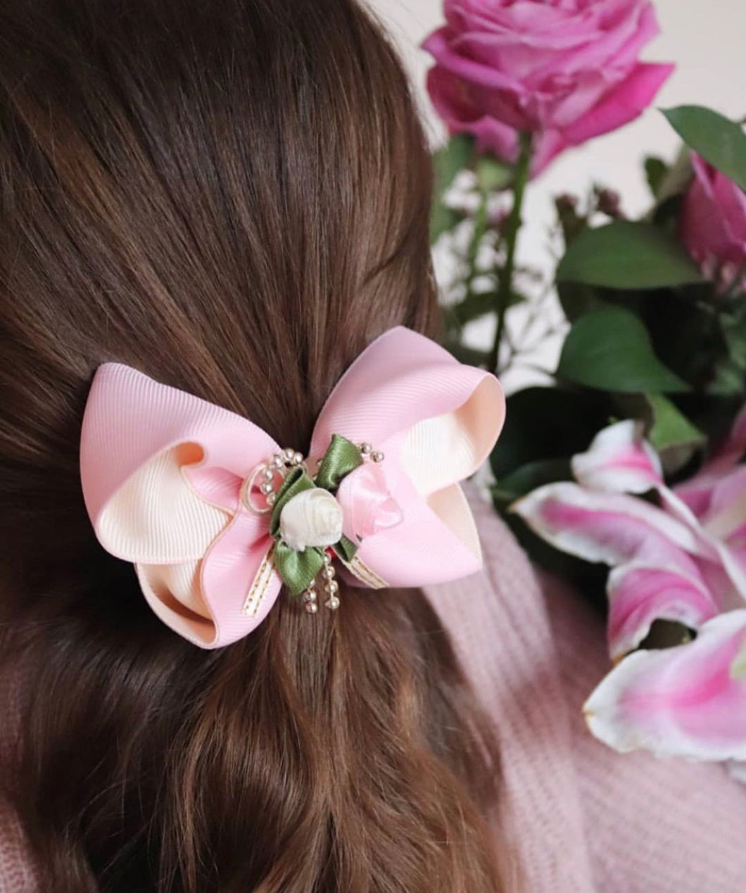 Pink/Cream Rose Bouquet Large Boutique Bows