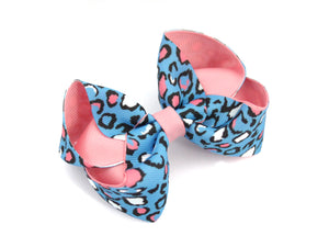 Blue/Pink Leopard print large boutique bow