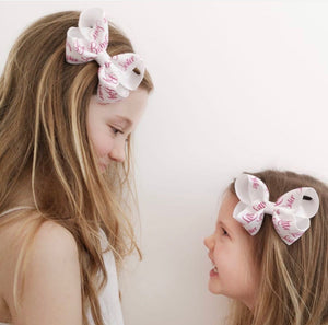 Big Sister / Little Sister Printed Large Boutique Bow