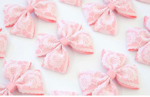 Lace Large Double Pinch Bows - Clips and headbands