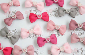 Pearl Heart Mini Bows - Clips and Headbands