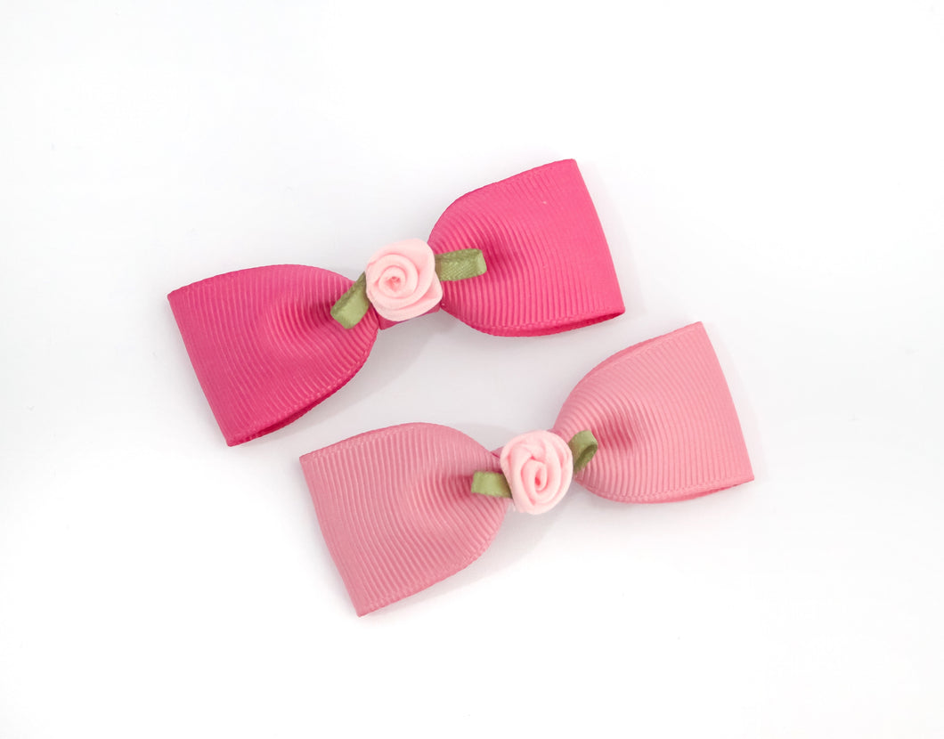 Pink Rose single pinch Bow - Clips and Headbands