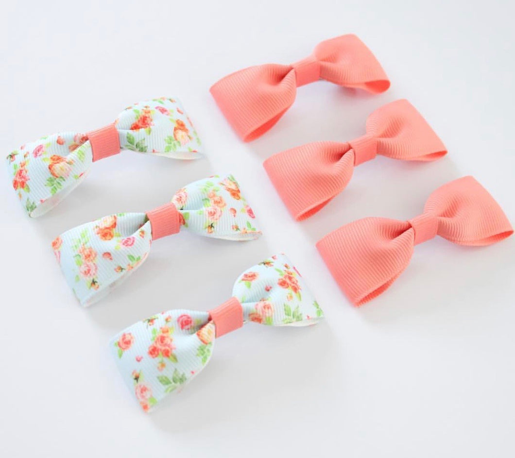 Coral Floral Single Pinch Bows