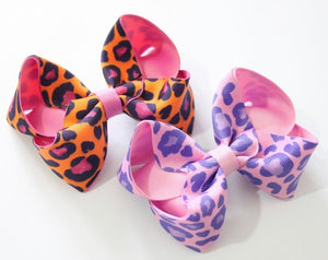 Bright leopard print large boutique bows