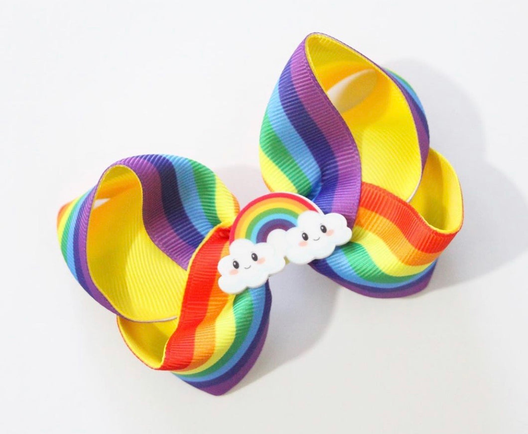 Rainbow Brite Large Boutique Bow