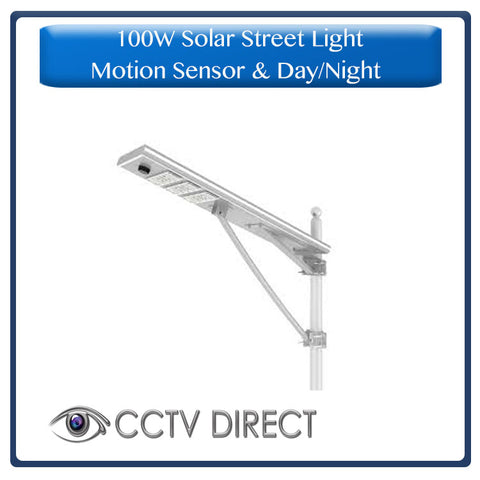 100W Solar Street Light with motion sensor, remote control, Automatic Day/Night switch