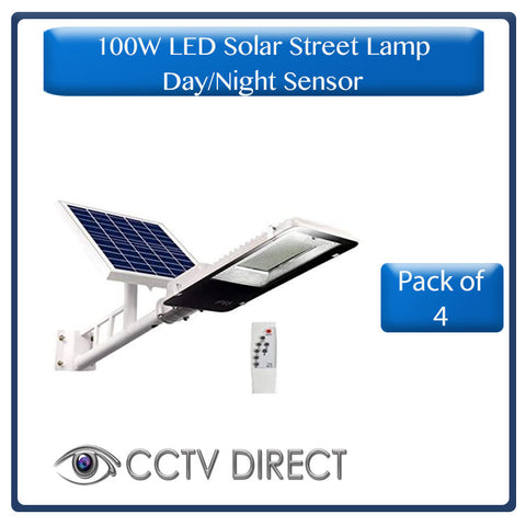 ** Pack of 4 ** 100w LED Solar Street Light with bracket & Pole, Day/night switch & remote control ( R1400 each)