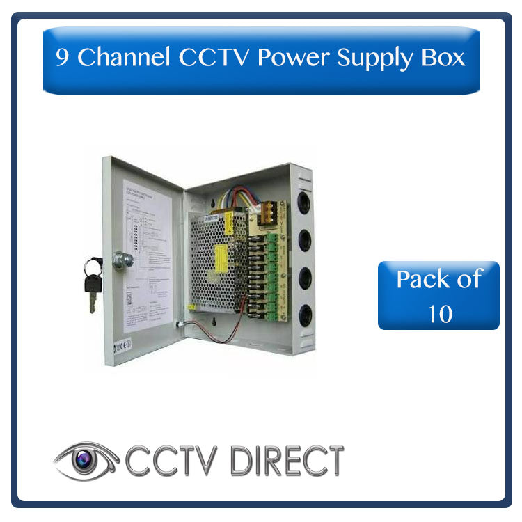 ** Pack of 10 ** CCTV Power Supply Box, 9 Channel ( R395 each)