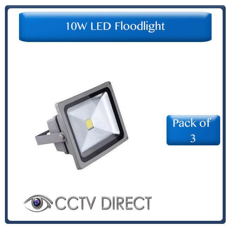 Pack of three 10 Watt LED Floodlights
