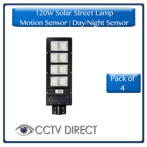 ** Pack of 4 ** 120W Solar Street Lamp With Motion Sensor & Day/Night Sensor (R1075 each)