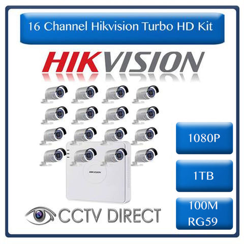 HikVision 16 Ch Turbo HD Kit - Embedded DVR - 16 x HD1080P Camera - 20M Night vision - 1TB HD - 100m Cable