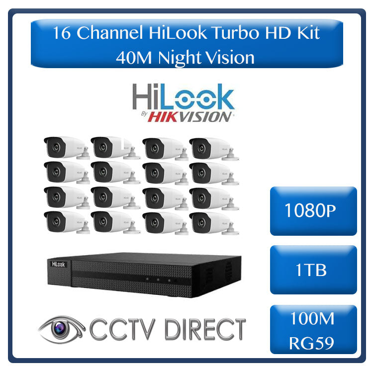 HiLook by HikVision 16 Ch Turbo HD Kit - HD DVR - 16 x HD1080P Cameras - 40M Night vision - 1TB HD - 100m Cable