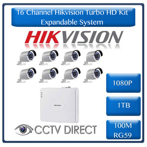 HikVision 16 Ch Turbo HD Kit - 16ch Turbo HD DVR - 8 x HD1080P Camera - 20M Night vision - 1TB HD - 100m Cable