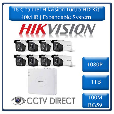 HikVision 16 Ch Turbo HD Kit - 16 ch Turbo HD DVR - 8 x HD1080P Camera - 40M Night vision - 1TB HD - 100m Cable