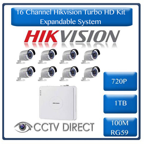 HikVision 16 Ch Turbo HD Kit - 16 ch Turbo HD DVR - 8 x HD720P Camera - 1TB HD - 100m Cable - 20m Night vision