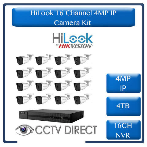 HiLook 4MP IP camera kit - 16ch NVR - 16 x 4MP IP cameras - 4TB HDD - 300M cable - 30M Night vision