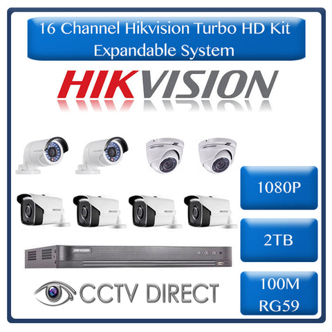Hikvision 16ch Turbo HD kit, 16ch Turbo HD DVR up to 4MP, 2 x 1080p Dome, 2 x 1080p Bullet 20m IR, 2 x 1080p Bullet 40m IR, 2 x 1080p Bullet 80m IR, 2TB HDD