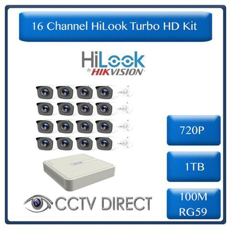HiLook by Hikvision 16ch Turbo HD kit - DVR - 16 x HD720P Camera - 20M Night vision - 1TB HD - 100m Cable