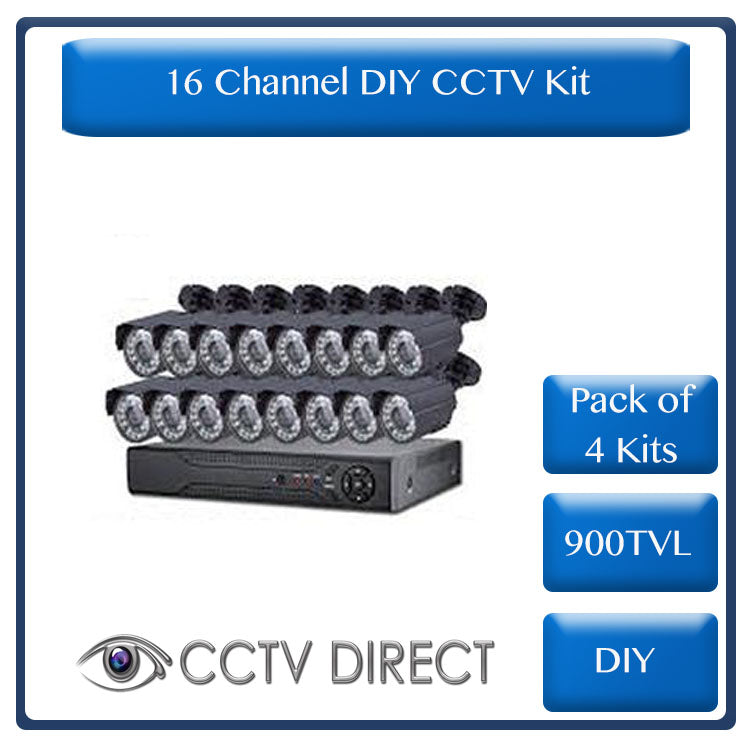*Pack of 4 Kits* DIY 16 Channel CCTV Kit with internet remote viewing ( R4000 each)
