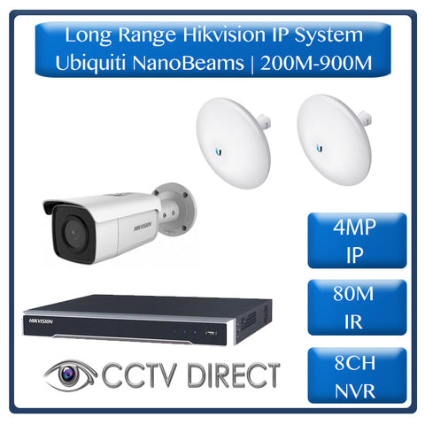 Hikvision 1 Camera IP long range kit, 200-900m, 8ch NVR, Ubiquity Nanobeams, 80m Night vision