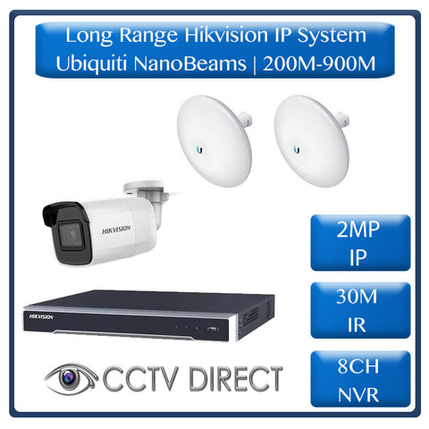 Hikvision 1 Camera IP long range kit, 200-900m, 8ch NVR, Ubiquity Nanobeams, 30m Night vision