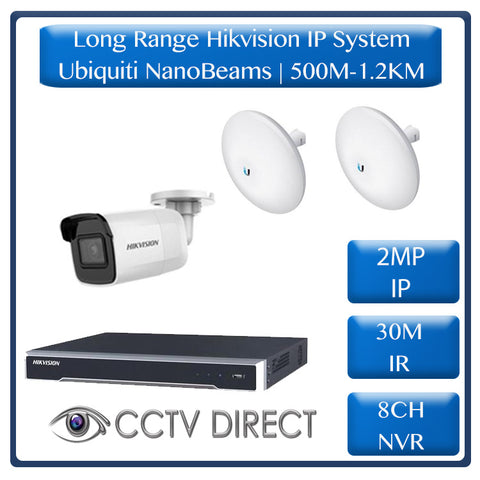 Hikvision 1 Camera IP long range kit, 500m-1.2KM, 8ch NVR, Ubiquity Litebeams Gen2, 30m Night vision