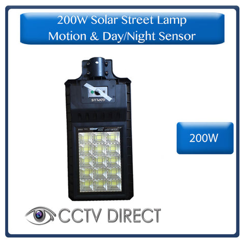 200W Solar Street Lamp With Motion Sensor & Day/Night Sensor