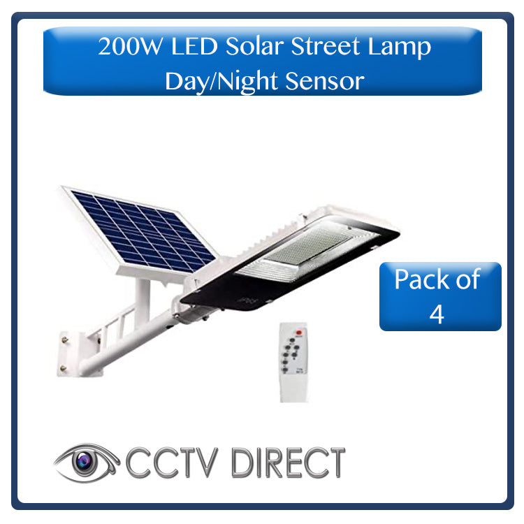 ** Pack of 4 ** 200w LED Solar Street Light with bracket & Pole, Day/night switch & remote control ( R1650 each)