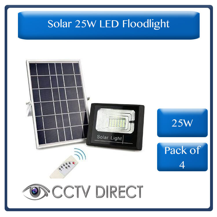 **Pack of 4**  Solar 25W LED Flood Light with remote control  ( R499 each )