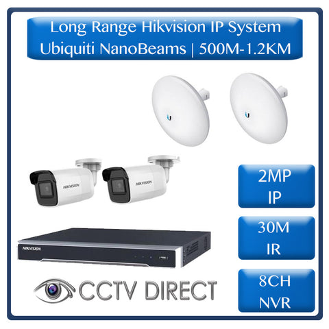 Hikvision 2 Camera IP long range kit, 500m-1.2KM, 8ch NVR, Ubiquity Litebeams Gen2, 30m Night vision