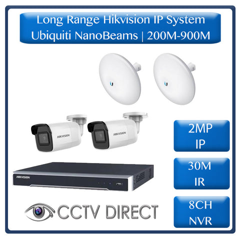 Hikvision 2 Camera IP long range kit, 200-900m, 8ch NVR, Ubiquity Nanobeams, 30m Night vision